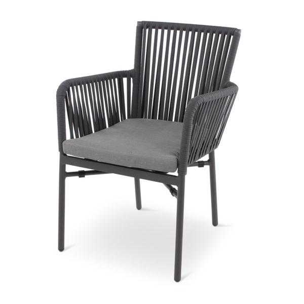 MANDY armchair textilene anthracite incl cushion grey, metal leg anthracite